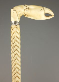 Victorian whalebone Walking Stick with twist and geometric carved shaft, the ivory handle carved as a crab claw, Wooden Walking Canes, Wooden Canes, Walking Sticks And Canes, Wooden Walking Sticks, Snake Stick, Wood Sculpture, Metal Sculptures, Abstract Sculpture, Bronze Sculpture