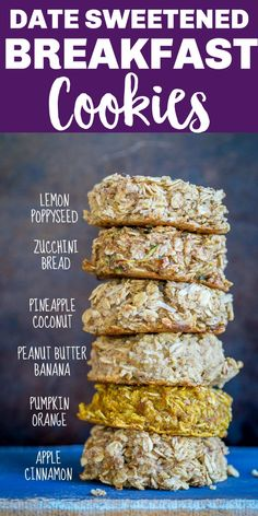 These Naturally Sweetened Breakfast Cookies are sweetened with just dates and spices! They're a healthy meal prep breakfast or snack and kids love them! You can make them ahead of time and their freezer friendly. Vegan and gluten free too! #breakfastcookies #datesweetened #naturallysweetened #mealprep #breakfast #vegan #glutenfree Best Vegetarian Recipes, Vegan Recipes Easy, Free Recipes, Clean Breakfast, Breakfast Ideas, Breakfast Recipes, Healthy Sweets, Healthy Snacks, Sweets Recipes