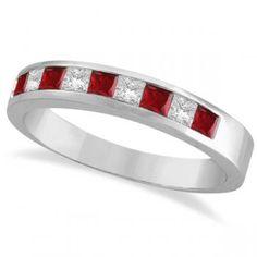 Princess-Cut Channel-Set Diamond & Red Garnet Band 14k White Gold. My kids birth stones.