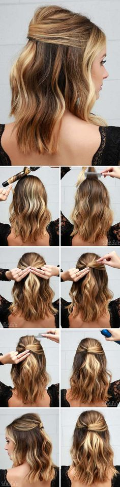 41 DIY Cool Easy Hairstyles That Real People Can Actually Do at Home!, Peinados, Cool and Easy DIY Hairstyles - Half Party Lob - Quick and Easy Ideas for Back to School Styles for Medium, Short and Long Hair - Fun Tips and Best Ste. Cool Easy Hairstyles, Hairstyle Ideas, Hairstyle Tutorials, Makeup Tutorials, Latest Hairstyles, Makeup Tips, Hairstyles 2018, Makeup Ideas, Beautiful Hairstyles