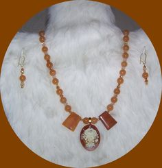 4639 Cameo Necklace & Earring Jewelry Set - Red Aventurine Gemstone - Apricot Rose Item 4639