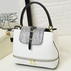 Stripes Zip Embellished PU Leather Handbag #>=#>=#>=#>=#> Click on the pin to check out discount price, color, size, shipping, etc. Save and like it!