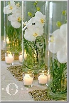.Use White or Blue Orchids, make each centre piece a different coloured Orchid, not all the same and Put tall Peacock feathers out the top of it. Use fake or real orchids