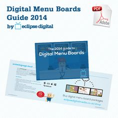The Digital Menu Boards Guide 2014 is your essential guide to choosing the right solution for your food and beverage business. Digital Menu Boards, Digital Signage, Digital Media, Packaging, Digital Menu, Wrapping