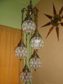 Vintage 5 Tiered Hanging Glass Globes Swag Lamp