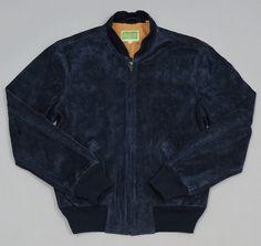LEVI'S VINTAGE CLOTHING: 1960s Suede Bomber Jacket, Majolica Blue