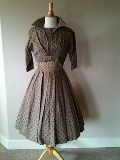 1950s Day dress/ Vintage 50s dress and bolero by LoveVintageRetro, $146.00