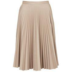 TOPSHOP PU Pleated Midi Skirt (3.740 RUB) ❤ liked on Polyvore featuring skirts, bottoms, saias, topshop, mink, mid-calf skirt, knee length pleated skirt, beige midi skirt, topshop skirts and midi skirt