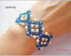 Beaded Bracelet Tutorial Pattern - Golden Blue Crystal Pearl Round Bracelet (BB163) - Beading Jewelry PDF Tutorial (Instant Donwload)