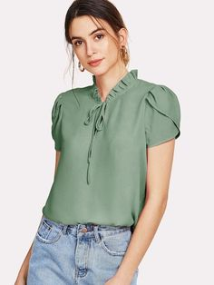To find out about the Frill Trim Tie Neck Petal Sleeve Top at SHEIN, part of our latest Blouses ready to shop online today! Pastel Fashion, Green Fashion, Bow Tie Blouse, Petal Sleeve, Mode Hijab, Pulls, Types Of Sleeves, Shirt Blouses, Fashion News