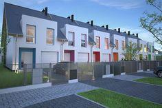 Zdjęcie projektu Edmonton DCS15 WOB1547 Terrace Building, Terrace Design, Small House Design, Ideas Para, Townhouse, Garage Doors, Mansions, Architecture, House Styles