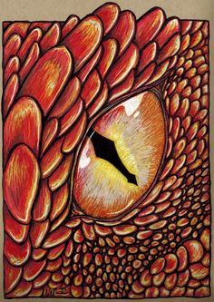 'Smaug Wakes' this one is done with bright colored markers on an crate paper. One of my favorite parts from the book the 'Hobbit' (as well the old animated one and the new live actions ones as well) is where Smaug wakes up and when Bilbo is in the room with him. I recall watching the original in the 70's and just falling in love with fantasy fiction stories of JRR Tolkin, Terry Brooks and so many others. Behold the dragons eye!