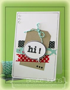 CAS card created with Schmitt Company and Tanner Stamps & Die-namics - nice idea using Washi Cute Cards, Pretty Cards, Diy Cards, Washi Tape Cards, Karten Diy, Marianne Design, Tape Crafts, Card Making Inspiration, Card Sketches