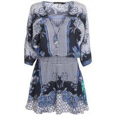 Vestido Viscose Estamp Lenco Azul Ajuste Cintura Nel