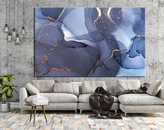 Excited to share the latest addition to my shop: Large Marble . Blue Wall Decor, Canvas Wall Decor, Modern Wall Decor, Wall Art Decor, Navy Blue Walls, Large Canvas Prints, Marble Art, Abstract Canvas, Blue Abstract