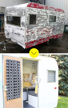 A 1966 Camp Trailer Gets A Colorful Makeover! A 1966 Camp Trailer Gets A Colorf Pimp My Caravan, Retro Caravan, Retro Campers, Old Campers, Vintage Campers, Vintage Camper Interior, Happy Campers, Shabby Chic Campers, Airstream Interior