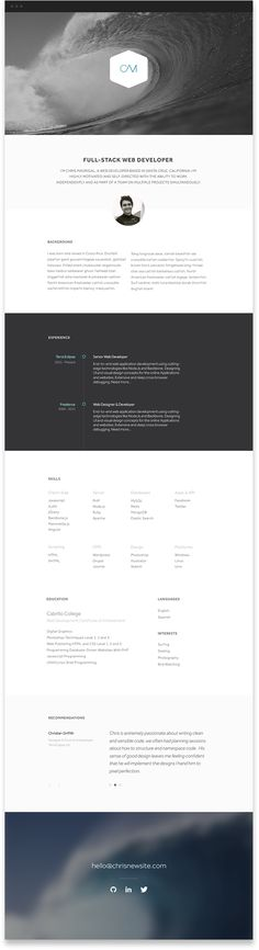 Love this website's simplicity and think it could easily be transitioned into a killer resume design!  For more resume inspirations click here: www.pinterest.com/sheppardaaron/-design-resumes/ Creative Resume Design, Resume Style, Resume Design, Curriculum Vitae, CV, Resume Template, Resumes, Resume Format.