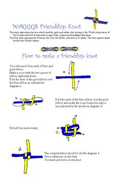 WAGGGS Knot for International Day/Thinking Day pot latches/swaps Nice instructions and explanation- looks simple to make (once you have the steps down! Girl Scout Swap, Girl Scout Leader, Girl Scout Troop, Boy Scouts, Brownie Guides, Brownies Girl Guides, Scout Knots, Friendship Knot, Girl Scout Activities