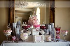 Pink & Grey Candy Table- cute with a sugar & spice sign and pics of the birthday girl!!!!