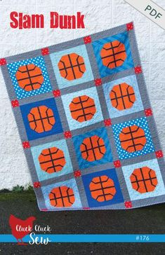 This is such a fun quilt to make for any basketball fan!  The pattern uses straightforward piecing techniques, no templates, no paper piecing, and no tricky sea