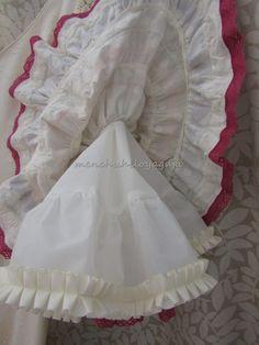 Reciclar un vestido de flamenca, añadiendo volumen al traje. Sewing Lingerie, Barbie, Embroidery, Dolls, Crochet, Pattern, Fashion Design, Inspiration, Style