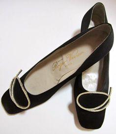 Roger Vivier designer black silk shoes with rhinestone buckle