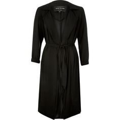 River Island Black sheer duster coat ($116) ❤ liked on Polyvore featuring outerwear, coats, black, coats / jackets, trench coats, women, duster coat, draped trench coat, tall trench coat and lightweight coats