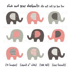 pink and gray elephant clip art girls chevron polka dots by huetoo, $6.00