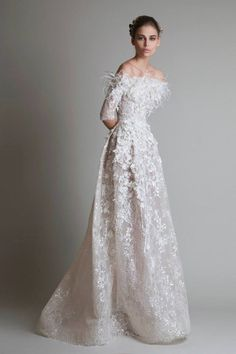 Krikor Jabotian Bridal Collection F/W 2013 - 2014 is simply amazing! If you are a bride that wants to make a statement whilst walking down the aisle in a couture gown. More couture bridal loveliness after the jump! 2015 Wedding Dresses, Bridal Dresses, Wedding Gowns, Dresses 2014, Off Shoulder Wedding Dress, Wedding Dress Sleeves, Gorgeous Wedding Dress, Beautiful Gowns, Krikor Jabotian