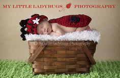 Newborn Baby GIrl Ladybug Hat & Cape Set by PerfectlySweetItems, $35.00
