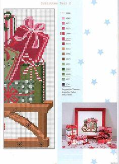 Sled of presents pg 2 Xmas Cross Stitch, Cross Stitch Love, Cross Stitch Pictures, Cross Stitch Needles, Cross Stitch Charts, Cross Stitch Designs, Cross Stitching, Cross Stitch Patterns, Christmas Embroidery
