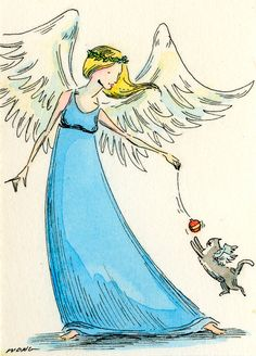 Original ACEO Painting  Angel play by PainterNik on Etsy, $35.00