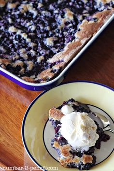 "Homemade Blueberry Cobbler with Vanilla Ice Cream ""Grandma Bea's""  --This cobbler is done upside-down from most cobblers I've made.  I am excited to make it!  With fresh blueberries!"