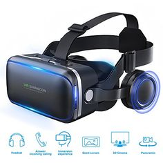 06cda97c157 Pansonite VR Headset Virtual Reality Glasses – 360 Panoramic with Built-in  Stereo Headphones – Large Viewing Immersive Experience VR Headset HD VR  Goggles ...