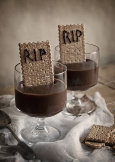 Chocolate Pudding with Cracker Headstones