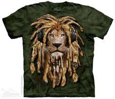 DJ Jahman Rasta Lion Wearing Headphones Adult T-shirt by The Mountain