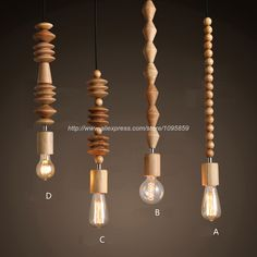 4 Models/Lot Modern Nordic Style Dining Room Wooden Beads Curtain Pendant Lamp Light Wood/Brown Color Ceiling Fixtures Lighting-in Pendant Lights from Lights & Lighting on Aliexpress.com | Alibaba Group