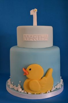 Yellow duck 1st birthday cake by madebymariegreen, via Flickr