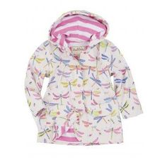 This delightful Hatley Girls Dragonflies Raincoat is just perfect to brighten up any little girls day. Stylish and featuring lots of multi-colour dragonflies on a white background with contrasting pink and white striped soft terry cotton lining. This jacket will be sure to keep your little one cosy and dry. The sleeves can be easily rolled up too if required. Ideal to have them flying around enjoying the outdoors come rain or shine!
