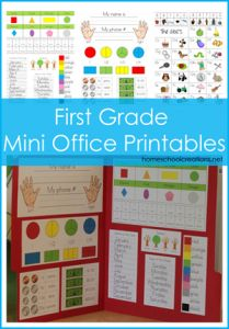 Homeschool Curriculum Help - First Grade Mini Office Printables. A quick and simple help for first graders to refer to during the school day. First Grade Classroom, 1st Grade Math, Grade 1, Mini Office, Maila, Beginning Of School, Middle School, High School, Home Schooling
