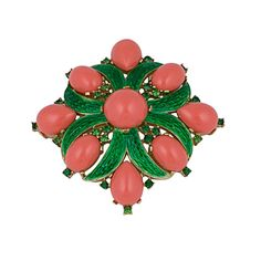 Trifari Faux Coral and Enamel Crest | From a unique collection of vintage brooches at http://www.1stdibs.com/jewelry/brooches/brooches/