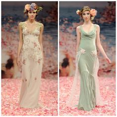 Colored wedding dresses by designer Claire Pettibone