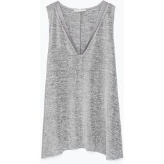Zara T-Shirt With Edging Detail ($20) ❤ liked on Polyvore featuring tops, shirts, tank tops, tanks, t-shirts, silver, zara shirt, embellished tops, shirts & tops and zara top
