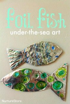 Gorgeous foil fish craft. Great under the sea art / ocean craft for kids.