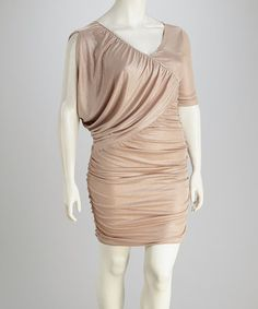 Take a look at this Taupe Embellished Plus-Size Dress by Clothing Showroom on #zulily today!