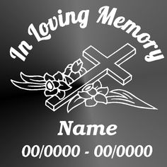 Memorial Decal Sticker Cut Vinyl Car Truck Jeep Cross Floral Car Window Memorial Decal by StickItUpVinyl on Etsy