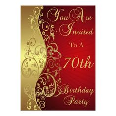 70th birthday party invitations wording birthday party invitation red and gold swirl 70th birthday party invitation filmwisefo