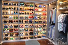 Behind-the-Scenes Set Tour of black-ish & Exclusive Tease Behind-the-Scenes Set Tour of black-ish, family comedy tv sitcom on ABC – Dre's closet with shoes and caps Bedroom Closet Design, Room Ideas Bedroom, Closet Designs, Shoe Room, Shoe Wall, Closet Shoe Storage, Shoe Closet, Men Closet, Dream Closets