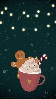 FOND D'ÉCRAN – WARM CHRISTMAS • WINTER - Fall wallpaper - En attendant Noël. Un chocolat chaud, des marshmallows, un petit biscuit en pain d'épice pour être cosy. Gingerbread / Candy cane. iPhone - Free wallpaper download ©Quiaimeastuces — Fond d'écran Noël