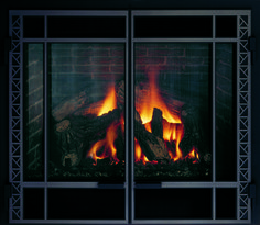 Strong horizontal lines capture the style of famous American prairie architects. Fireplace Fronts, Fireplace Inserts, Gas Fireplace, Vintage Iron, Hearth, Architects, Strong, Doors, Puertas